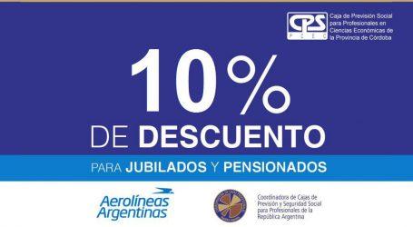 Aerolineas: 10% para jubilados y pensionados